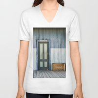bathroom V-neck T-shirts featuring Bathroom Doors by Agrofilms