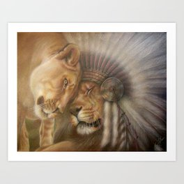 A Lion Love Story Art Print