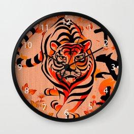japanese tiger art Wall Clock