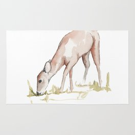 Deer Fawn Watercolor Painting Rug