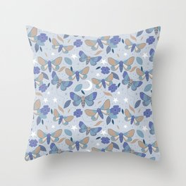 Moonlight Blue Moths  Throw Pillow