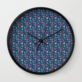 Denim Look Floral and Insect Pattern Wall Clock