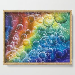 Rainbow of Impact Bubbles Serving Tray