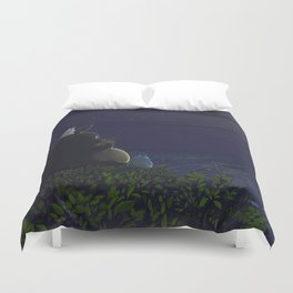 Totoro playing the ocarina Duvet Cover