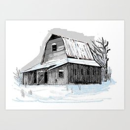 Vintage Northern Barn In Snow Art Print