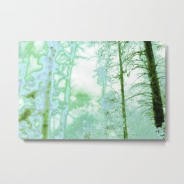 Magical forest in frosty greens Metal Print