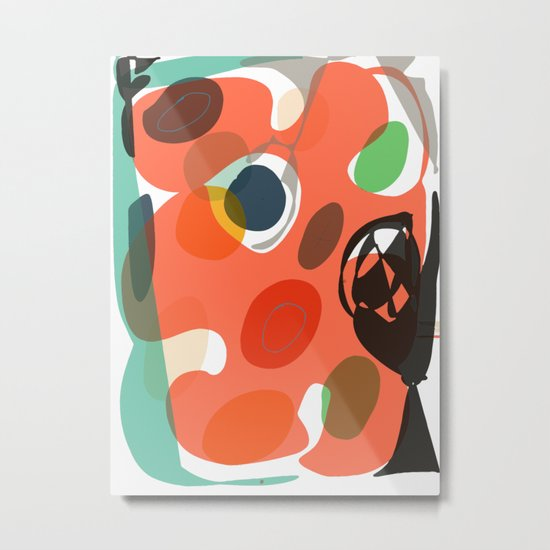 Abstract Shapes Pattern Be Kind Metal Print