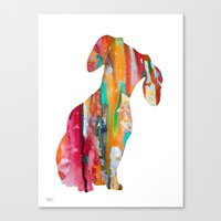 dachshund Canvas Prints featuring  Dachshund  by WatercolorGirlArt