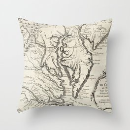 Vintage Map of The Chesapeake Bay (1780) Throw Pillow