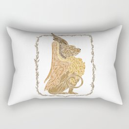 Mythical griffon in a floral wreath Rectangular Pillow