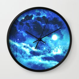 Blue on Moon Wall Clock