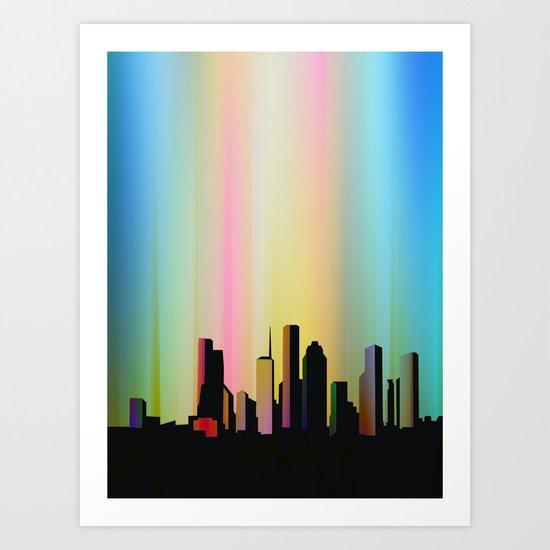 Cityscape through the veil Art Print