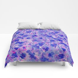 Hand painted navy blue pink watercolor floral pattern Comforters