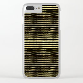 Gold and black stripes minimal modern painted abstract painting minimalist decor nursery Clear iPhone Case