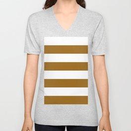 Wide Horizontal Stripes - White and Golden Brown Unisex V-Neck