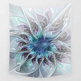 Flourish Abstract, Fantasy Flower Fractal Art Wall Tapestry