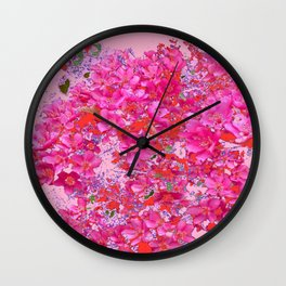 Abstract Pink Blossoms & Orange Accents Spring Art Wall Clock
