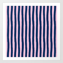 Blue and Pink Cabana Stripes Palm Beach Preppy Art Print