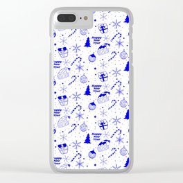 New Year Christmas winter holidays pattern with gifts, candys, christmas tree and toys, santa hat, s Clear iPhone Case