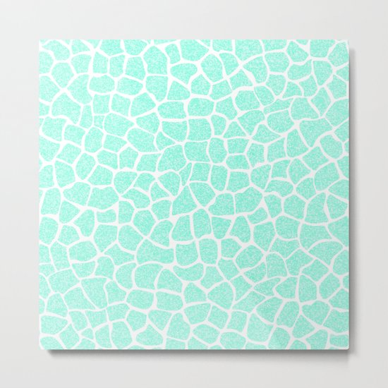 Light Blue Glitter Giraffe Print Metal Print
