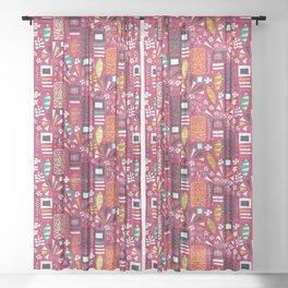 tiki pink Sheer Curtain