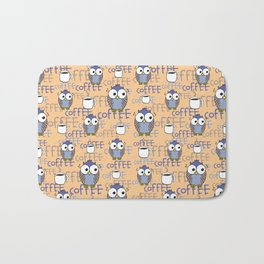 Orange & Blue Owls pattern Bath Mat