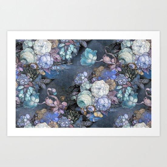 Vintage Blue Jeans Bouquet Art Print