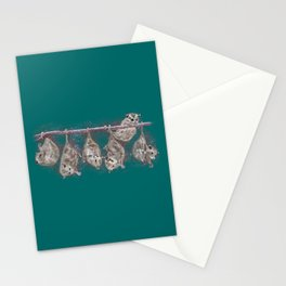 Possum Family - Teal Stationery Cards