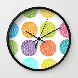 rainbow color Polka dot background. scribble dot on white Wall Clock