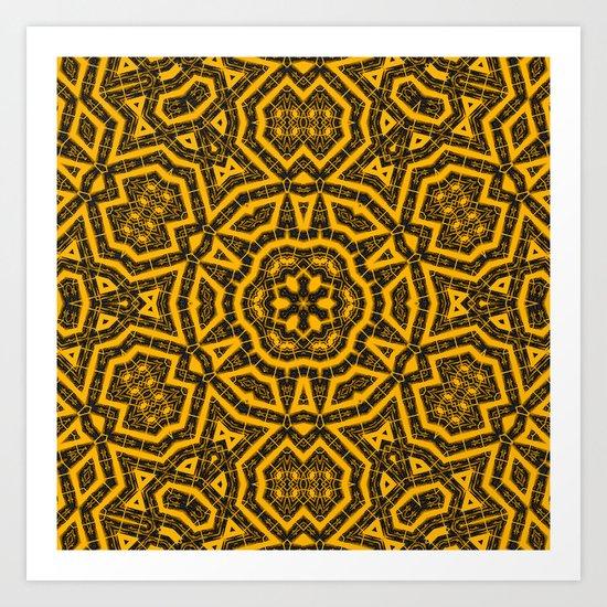Yellow and black tribal kaleidoscope Art Print
