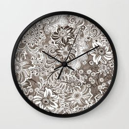 floral and paisleys monochrome Wall Clock