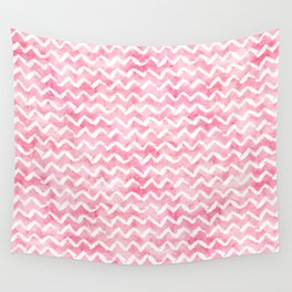 Pink White Watercolor Chevron Stripes Wall Tapestry