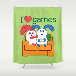 Ernest | Loves games Shower Curtain