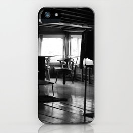 Street Photo - Vacant Home Empty Chairs - Black and White iPhone Case