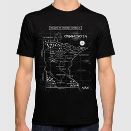 Fantasy Style Map of Minnesota - Green T-shirt