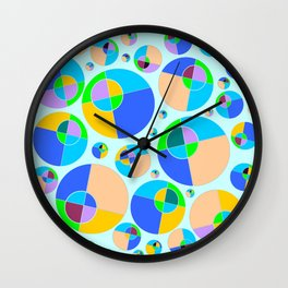 Bubble blue & orange Wall Clock