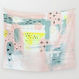 Abstract Pink Yellow Wall Tapestry
