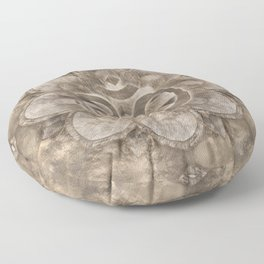 Om Symbol Lotus flower Vintage gold Floor Pillow