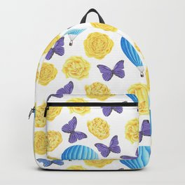 Modern yellow blue violet watercolor floral butterfly pattern Backpack