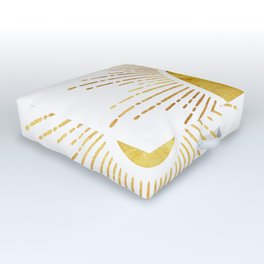 Golden Sunburst Starburst White Hot Outdoor Floor Cushion