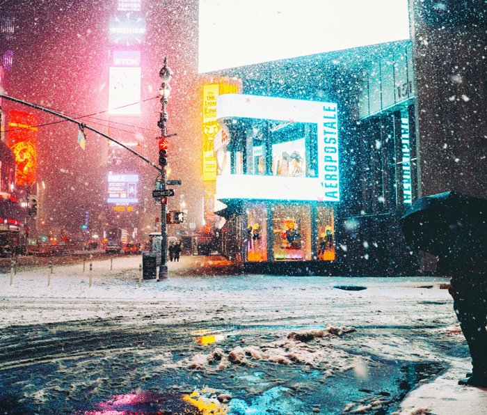 New York City Snow in Times Square Metal Travel Mug