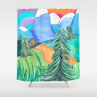 bigfoot Shower Curtains featuring Strolling bigfoot by liza salmon