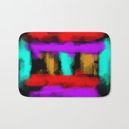 blue orange red and purple painting abstract with black background Bath Mat