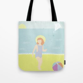 Girl at the beach with kite and ball in the 1950's vintage Tote Bag
