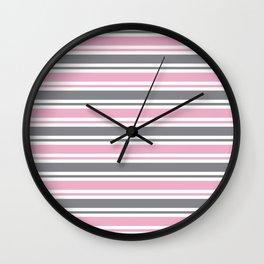 Pastel Pink & Gray & White Stripe Pattern Wall Clock