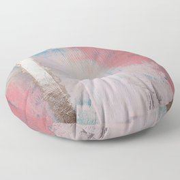 Morning Light: a minimal abstract mixed-media piece in pink gold and blue by Alyssa Hamilton Art Floor Pillow