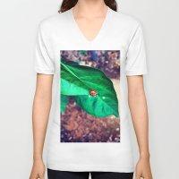 ladybug V-neck T-shirts featuring ladybug by HLee