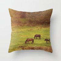 horses Throw Pillows featuring Horses by SensualPatterns