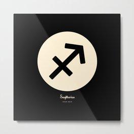 Sagittarius Symbol Black Metal Print