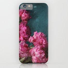 Peony Romance Teal iPhone Case
